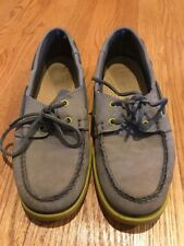 SEBAGO DOCKSIDES Gray Nubuck Yellow Oxfords Loafers LEATHER Shoes Mens Sz 8.5 #