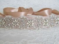 Bridal Pearl Rhinestone Wedding Dress Sash Belt with Champagne Sash Ribbon