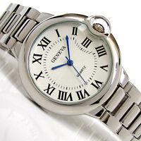 Silver Geneva Large Case Classic Roman Dial Women's Bracelet Quartz Watch