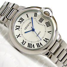Silver Geneva Large Case Classic Roman Dial Women's Bracelet Quartz Watch