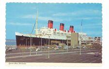 Long Beach, CA Queen Mary dockside  unused postcard