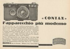 Z1102 ZEISS IKON Contax l'apparecchio più moderno - Pubblicità d'epoca - 1933 Ad