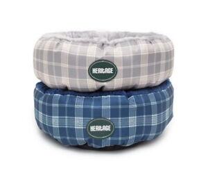 Heritage Round Cat Bed Soft Warm Kitten Puppy Donut Fluffy Fleece Cushion 50CM