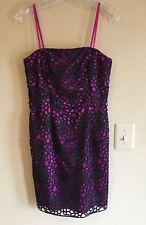 New ADRIANNA PAPELL 6 Purple Black Lace Sheath Dress Straps Strapless Pink