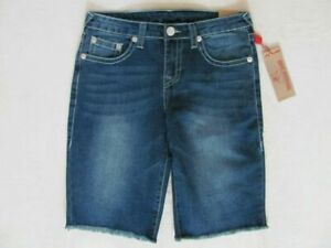 True Religion Boys Slim Single Cut Off Blue Jean Denim Shorts,Denim Blue,Size 12