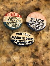 3 Wwii Scarce Anti-Axis Boycott Japanese Japan Pinback Buttons Pins