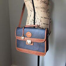 VTG Dooney & Bourke All Weather Leather Cross Body Satchel Blue Brown Lock Clasp