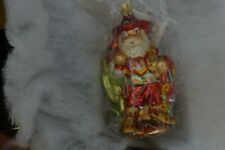 Christopher Radko glass Christmas ornament Cowboy Santa with box