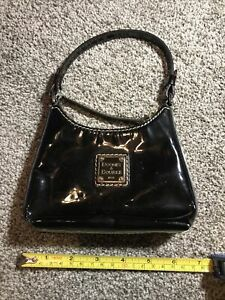 DOONEY & BOURKE Black Patent Leather trimmed Wristlet