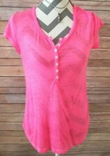 OLD NAVY Women's Hot Pink Short Sleeve V-Neck Half  Button Down Top Sz M