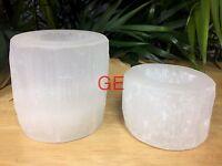 Selenite Candle holder Gift Set Cylinder Tea Light Candleholder Crystal Gemstone