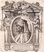Portrait XVIIIe Agostino di Giovanni Agostino Sanese Peinture Architecture 1767
