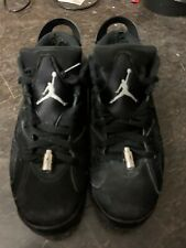 NIKE AIR JORDAN 6 RETRO LOW BLACK/METALLIC SILVER MENS SZ 9 USED