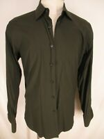 Prada Mens Brown Long Sleeve Dress Shirt 42 16.5-36 Italy Made