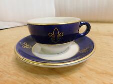 Syracuse China Blue Gold Fleur De Lis Hotel Restaraunt Cup Saucer