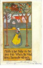 Hush a bye Baby with Dutch girl  under apples  used postcard 1907