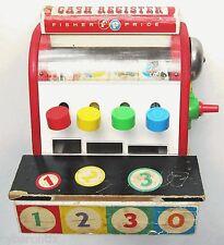 Fisher Price Cash Register Vintage 1960s #972 Wood Toy Works Wooden No Coins