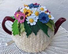 Crochet tea cozy beige tea cover pink tea cosy tea warmer crochet flower