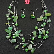Betsey Johnson Fashion Jewelry Retro Green Gemstone Choker Necklace Earring Set