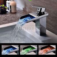 Modern LED RGB Waterfall Chrome Single Lever No Battery Mixer Sink Basin Tap -UK