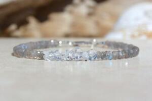 "Natural Dainty Labradorite+Herkimer Rondelle Faceted Beaded Gemstone Bracelet 7"""