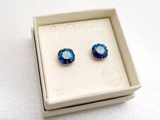 Liz Palacios Blue Crystal Earrings Studs Antiqued Brass Swarovski New in Box!