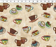 COFFEE HOUSE Cups on Khaki Quilt Fabric sold by 1/2 Yard Sue Zipkin #Y1889-12