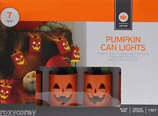 Halloween 7 Orange Pumpkin Can Light Indoor/Outdoor Black Wire
