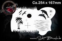 Wasserwelt Airbrush Effekt Palmen Delphin Schablone - Effects Water Stencil