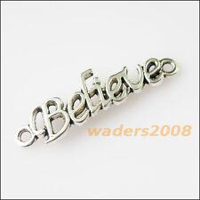 8 New Believe Words Connectors Tibetan Silver Tone Charms Pendants 9.5x36mm