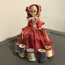 Vintage Pin Cushion Doll & Thread Holder Dress, Bonnet [GB11]