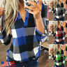 Women's Plaid T shirt Long Sleeve V-Neck Blouse Casual Loose Long Shirts M-3XL