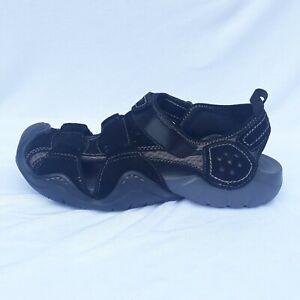 Crocs Men's size 9 Swiftwater Leather Fisherman Trail Sandals Black/Graphite