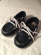 Janie and Jack Toddler Boy Blue With White Laces Leather Docksiders - Size 7