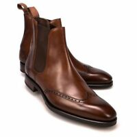 New Handmade Men's Ankle High Leather Boots Men's Brown Chelsea Wing Tip Boots