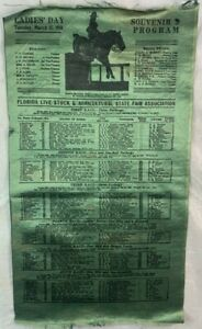 Antique Silk Horse Racing Program 3-15-1910 Florida State Fair Tampa Live Stock