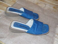 FANFARES Denim Hippie Sandals w/ Wooden Heels Slip On SUMMER Cute Womens 5.5