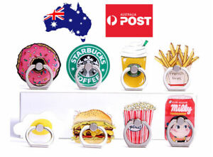 Cute Phone Finger Ring Holder Mount Stand Grip iPhone Samsung Burger Fries