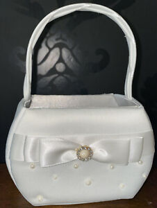 Lillian Rose Ivory Scattered Pearl Satin Flower Girl Basket with Bow