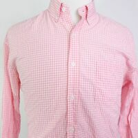 J CREW LIGHT WEIGHT SHIRT SLIM FIT L/S PINK GINGHAM CHECK BUTTON UP SZ L LARGE