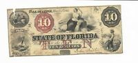 $10 1864 Florida Tallahassee Proxy Signed Train Slave Boat Note #7336