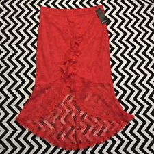 NWT Nasty Gal Red Cocktail Party Lace Ruffle  High Low Skirt Sz 10