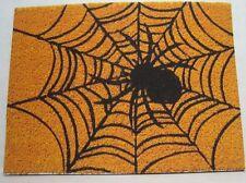 Dollhouse Miniature Halloween Welcome Mat - Black Spider on Web