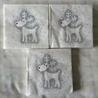 """Pack Of 50 13 x 13/"""" S00419 Christmas 3 ply Silver Napkins 33 x 33cm"""