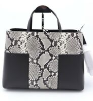 NWT Tory Burch Block-T Embossed Snake Leather Triple Compartment Tote Bag $598