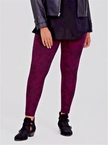 Torrid Leggings Full Length Premium Laced With Flowers Purple Maroon 1 14 / 16