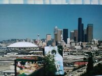 amazing VINTAGE PHOTO POST CARD THE KING DOME AIR VIEW OVER SEATTLE WASHINGTON.