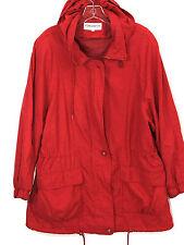 Forecaster Of Boston Rain Windbreaker Jacket Coat Hood Red Zip Button Mens L
