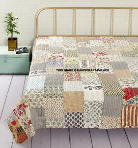 White Patchwork Kantha Quilt Indian Cotton Comforter Queen Blanket Bedding Throw