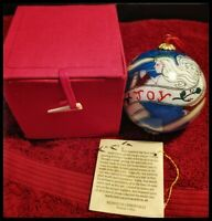 Midwest of Cannon Falls Joy hand painted glass ball ornament. Angel with trumpet